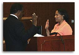 Judge Jackson being sworn in