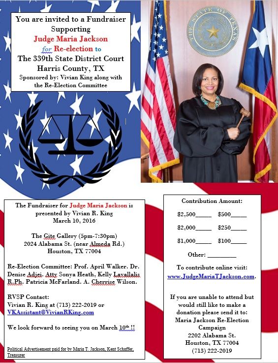 Judge Maria T. Jackson Flyer March 10, 2016